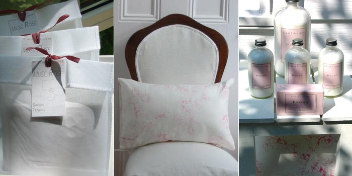 soap in fabric pouch, pillow on chair, bottles of body lotion